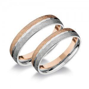 Selyemfényű rosé és fehér arany karikagyűrű