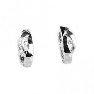 Ezüst karika alakú fülbevaló, cirkónia kristályokkal