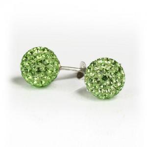 Zöld gömb Swarovski köves ezüst fülbevaló