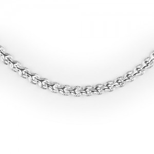 Hajtott szemes ezüst női nyaklánc, nyakék